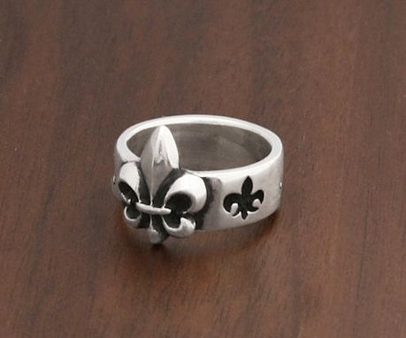 Custom Made Fleur De Lis Band In Sterling Silver