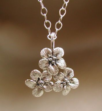 Custom Made Forget-Me-Not Flower Sterling Silver Cluster Necklace