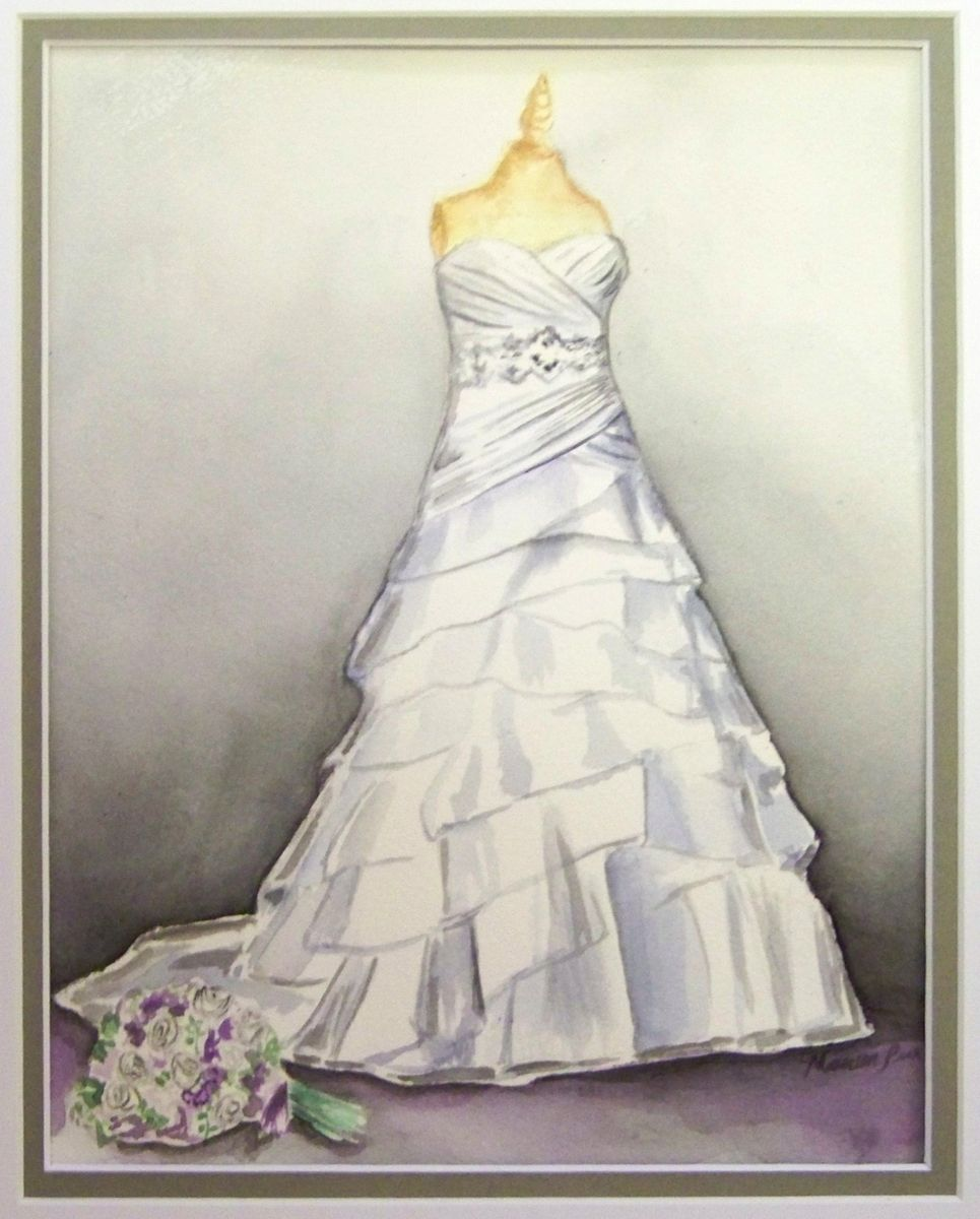 Custom wedding dress painting by paintings by maureen peer for Painted on wedding dress