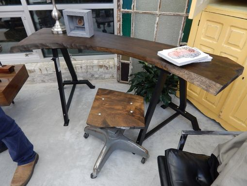 Custom Made Live Edge Hickory Wood Industrial Steel Desk