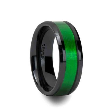 Custom Made Irving Black Ceramic Ring With Textured Green Inlay And Beveled Edges - 8mm