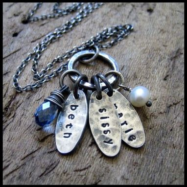 Custom Made Hand Stamped Rustic Silver Oval Trio Charm Necklace