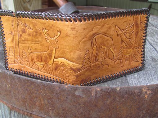 Custom Made Hunting Design Handcarved Leather Wallet, Big Whitetail Buck, Doe And Fawn