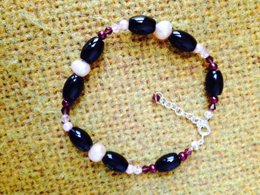 Custom Made Handmade Bracelet From Pearls, Agates And Crystals With Silver-99.9, 8.5-10 In !
