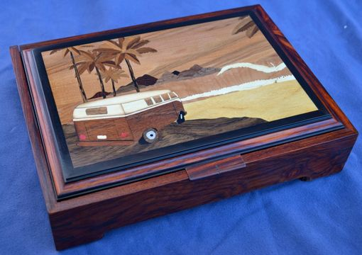 "Custom Made ""A Day At The Beach"" Wood Inlay Jewelry Box"