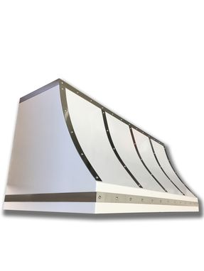 Custom Made #69 Powder Coated White Steel Range Hood With Brushed Straps And Stainless Rivets