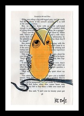 Custom Made Owl Art Orange And White Owl - Retro 1970s Illustration Style Owl Full Of Wisdom- Black Tree Limb