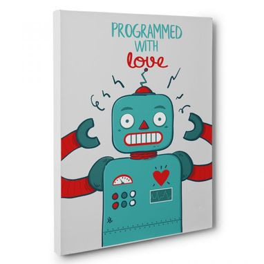 Custom Made Programmed With Love Canvas Wall Art