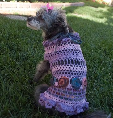 Custom Made Cotton Yarn Crocheted Summer Dog Dress