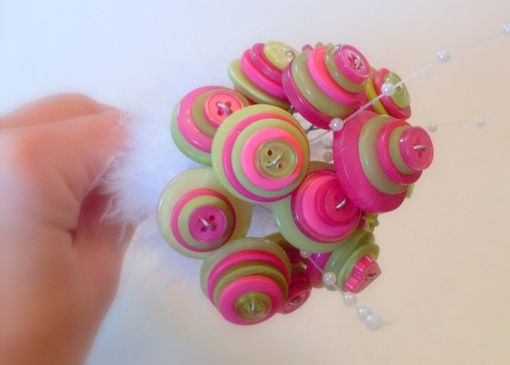 Custom Made Hot Pink And Lime Green Buttons Wedding Toss Bouquet