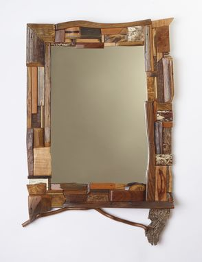 Custom Made Mosaic Mirrors Made With A Variety Of Texture, Grain And Multiple Species.