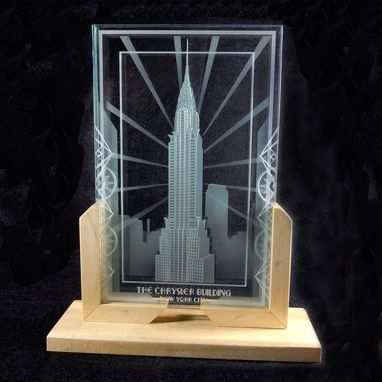 Custom Made Chrysler Building Of New York City - Art Deco Design Etched Glass Interior Decor Display