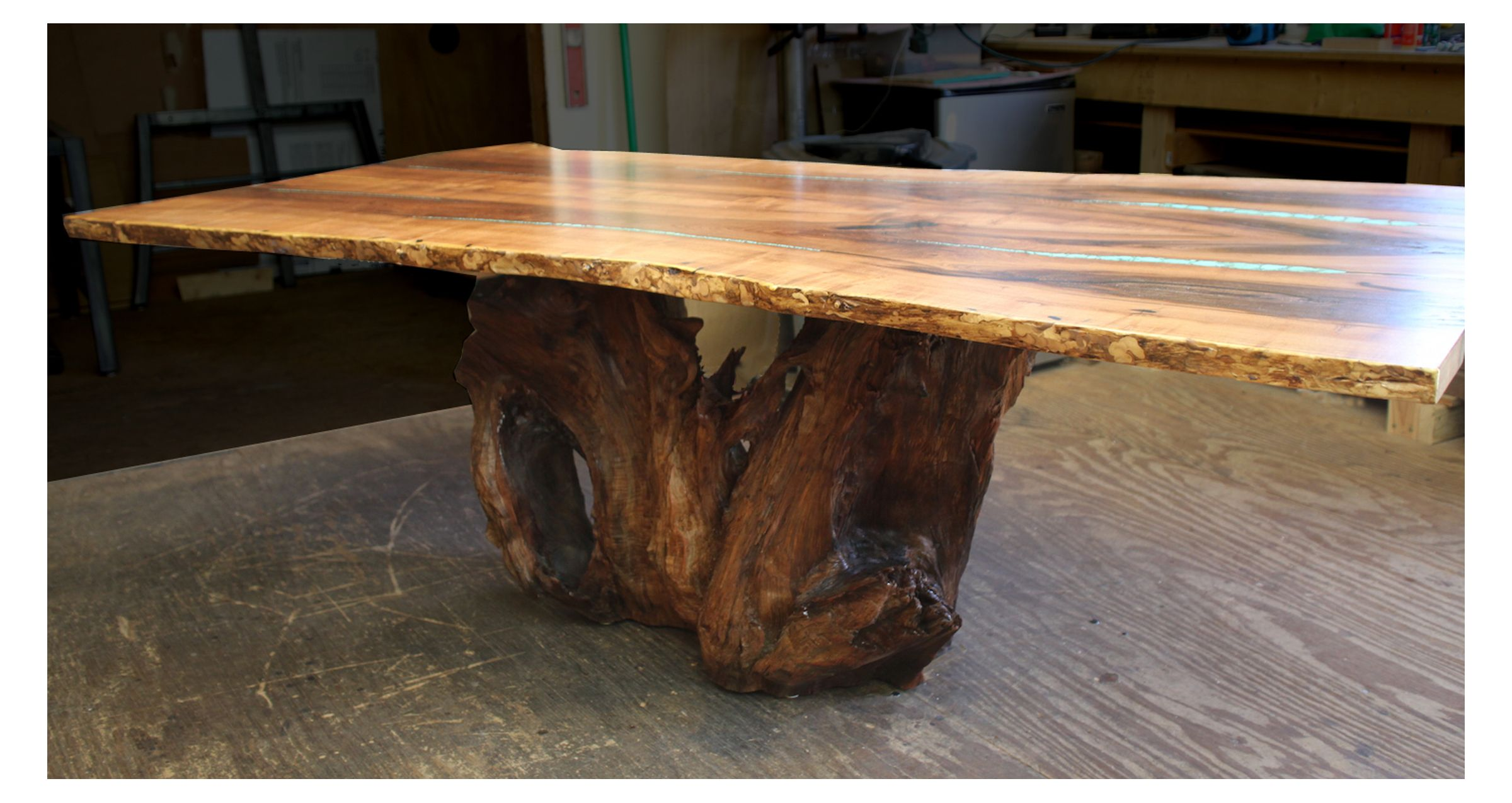 Custom Turquoise Inlay Dining Table By Aaron Smith