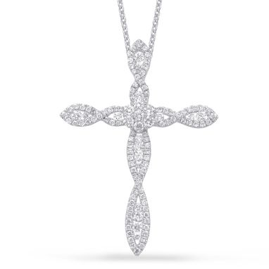 Custom Made White Gold And Diamond Cross