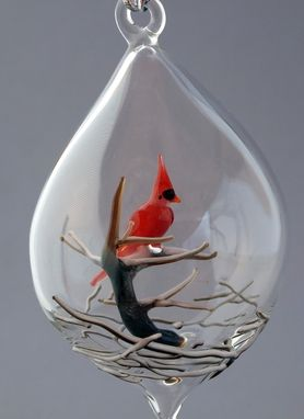 Custom Made Cardinal On A Snowy Tree Inside A Sphere