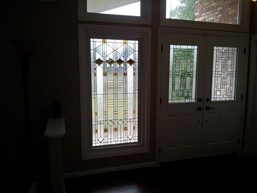 "Custom Made Stained Glass Window - ""Elegant Arts And Crafts Style"" (W-61)"