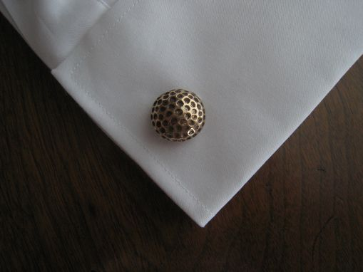 Custom Made Solid Bronze Golf Ball Cufflinks With Vintage Finish