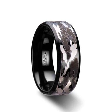 Custom Made Conquest Beveled Black Tungsten Carbide Ring With Black And Gray Camo Pattern - 8mm