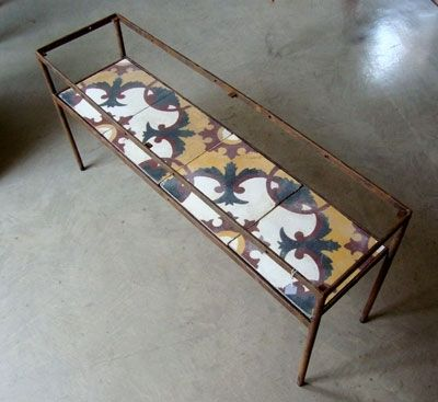 Custom Made Wrought Iron Night Table Or Small Console With Glass Top