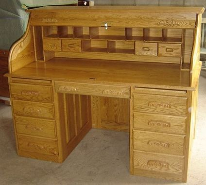 Custom Made New Solid Oak Wood Roll Top Office | Home Desk With Drawers