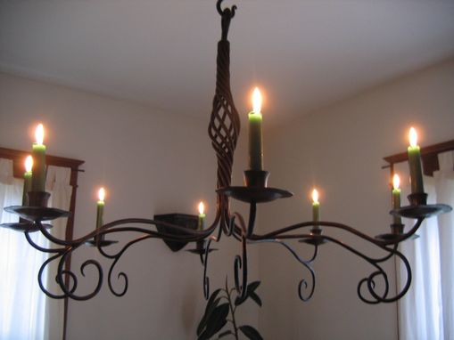 Custom Made Forged Iron Candle Chandelier
