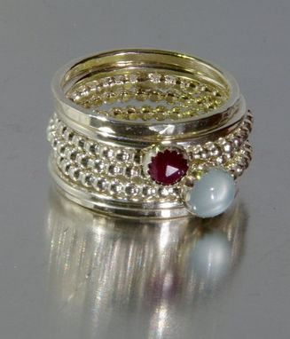 Custom Made Aquamarine & Ruby Stacking Mothers Silver Rings