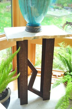 Custom Made Urban Industrial Accent Pedestal, Art Table, Art Pedestal