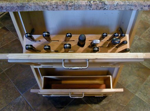 Custom Made Concealed Knife Block & Cutting Board Storage