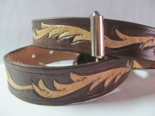 Custom Made Hand Carved Belt, Two Tone Brown