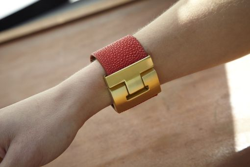 Custom Made Genuine Stingray Luxury Bracelet In Red - Exotic Leather