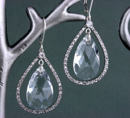 Custom Made Big Silver & Crystal Teardrop Earrings