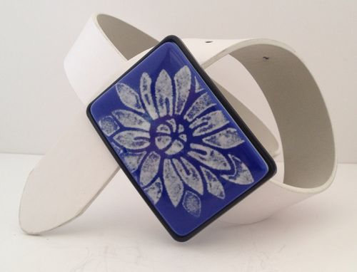 Custom Made White Flower On Bright Deep Blue Fused Glass Belt Buckle