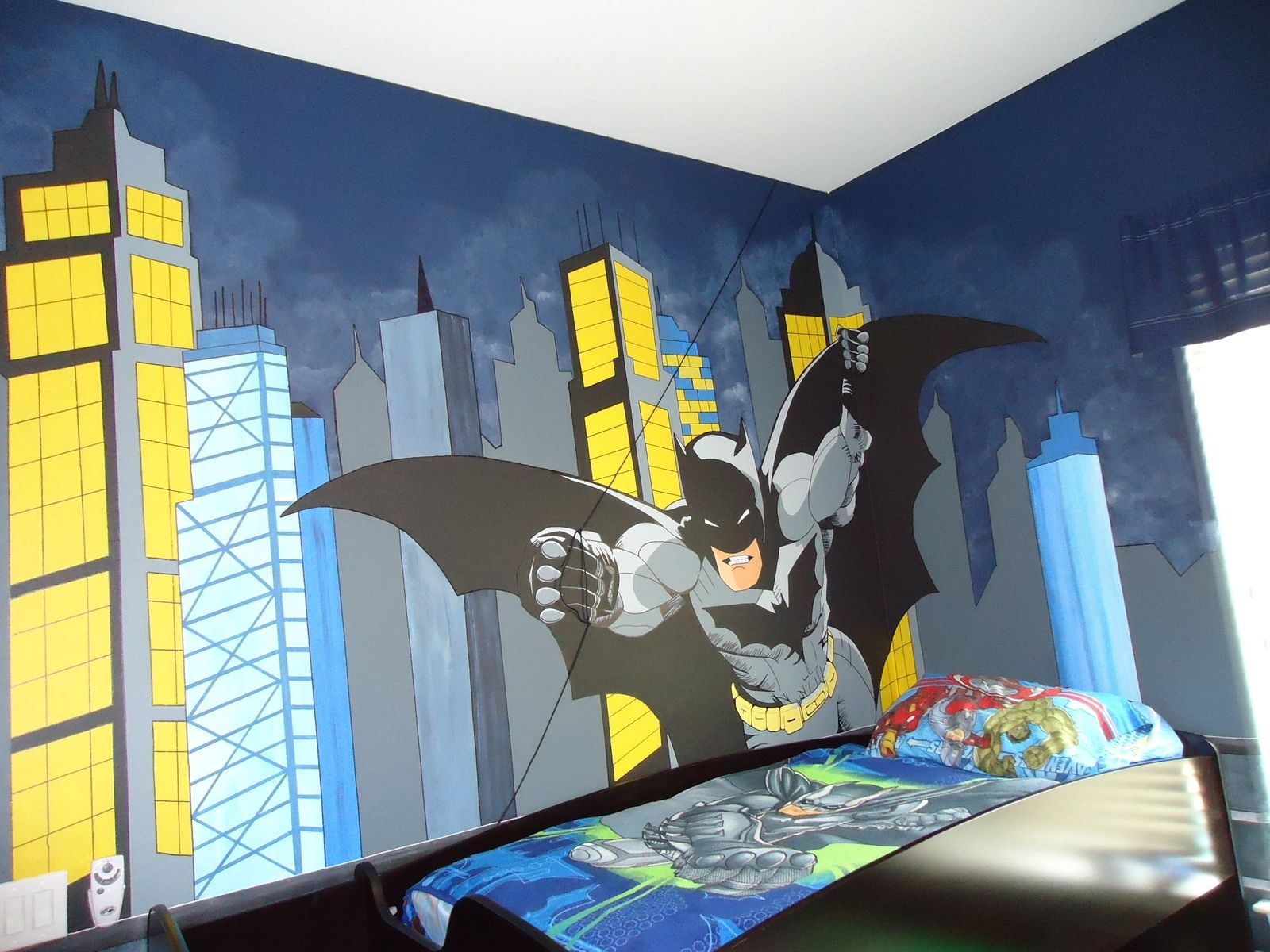 Murals for boys bedrooms - Custom Made Gotham City And Batman Control Room Mural