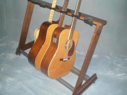 Custom Made Deluxe 6 Space Guitar Stand With Wheels And Security Straps