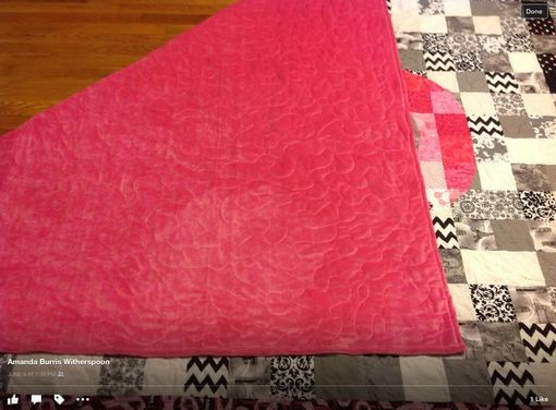 Custom Made Breathtaking Breast Cancer Awareness Blocked Ribbon Queen Size Quilt