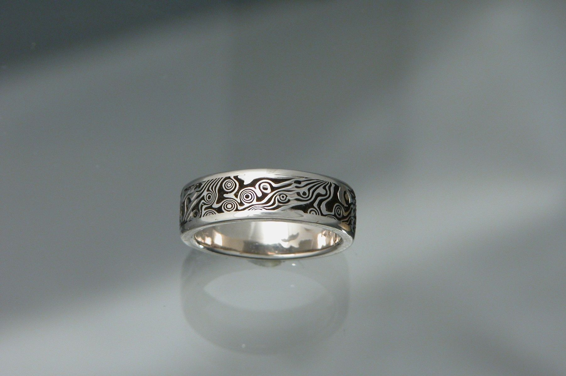 Custom Made 14kt White Gold Palladium Layered With Sterling Mokume Gane Mens Wedding Band