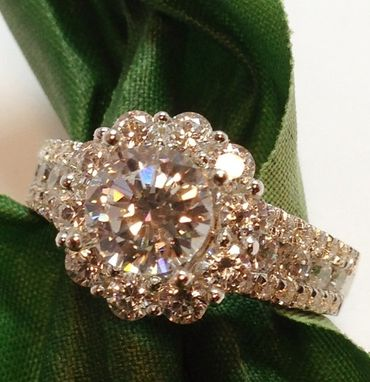 Custom Made Flower Halo Diamond Ring