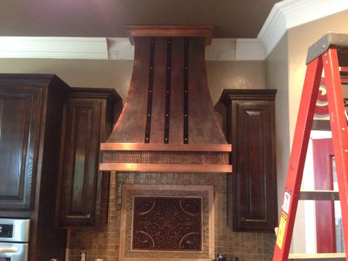 Custom Made Copper Range Hood With Iron Straps