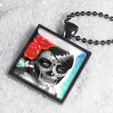 Custom Made Day Of The Dead Girl Gunmetal Black Pendant Necklace