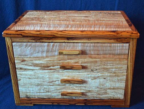 Custom Made Four Drawer Jewelry Box With Unique Spalted Maple Wood Grain