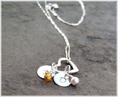Custom Made Personalized Hand Stamped Sterling Silver Mothers Floating Heart Necklace