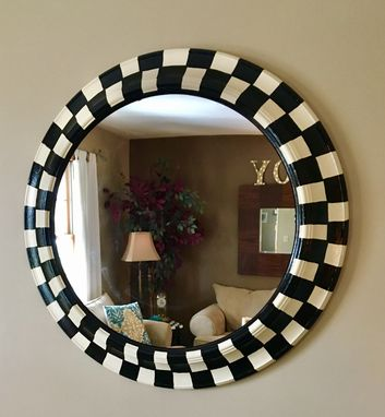 Custom Made Whimsical Painted Round Mirror, Black And White Checkered Mirror 30-Inch Round