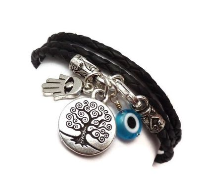 Custom Made Leather Wrap Bracelet With Protection Charms