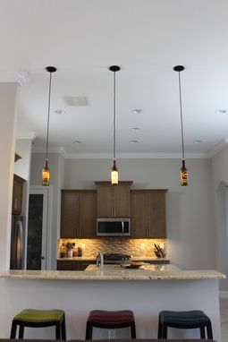 Custom Made Wine Bottle Pendant 3 Light Set