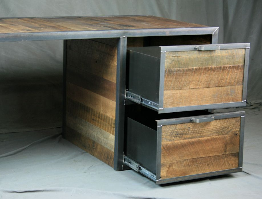 A Hand Made Reclaimed Wood Desk With File Cabinet Drawers Steel Office Furniture Filing To Order From Combine 9 Custommade Com
