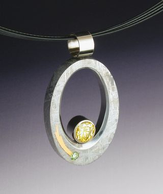 Custom Made Sun And Comet Pendant In Gibeon Meteorite With Diamonds