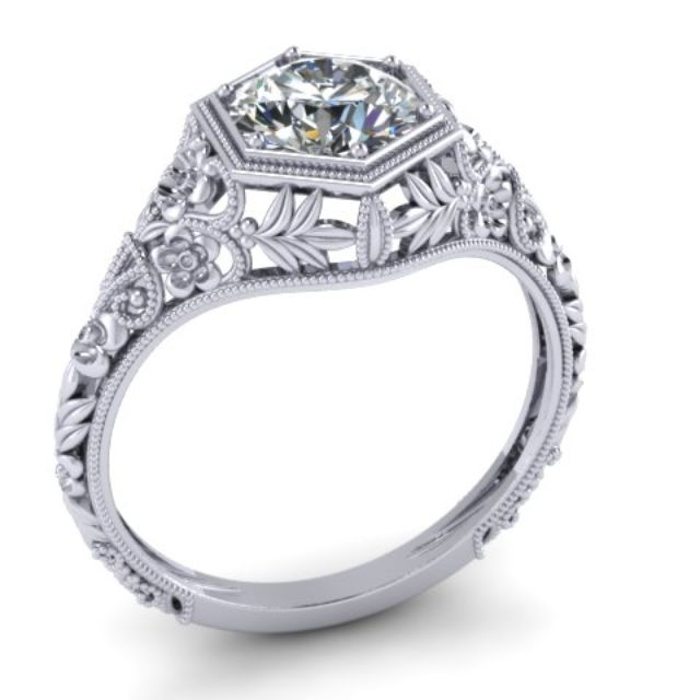 art nouveau diamond engagement ring 14k white gold filigree floral round 6mm by ilya kunin - Art Deco Wedding Rings