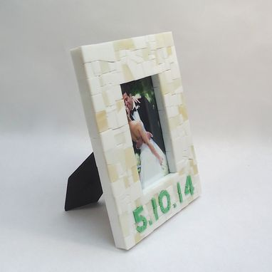 Custom Made Mosaic Date Frame In White And Green