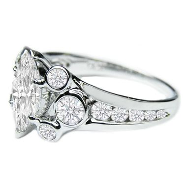 Custom Made Valerie Marquise Engagement Ring With Bezel & Channel-Set Round Diamonds Es683