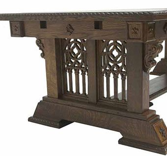 Custom Made Solid Oak New Wave Gothic Table
